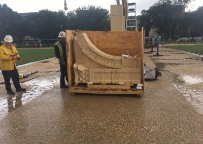 Uncrating marble arch structure at the National Mall in Washington, DC.