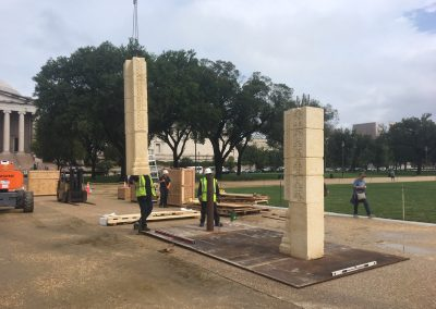Leveling steel plates and placing columns