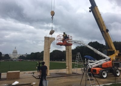 Erecting marble arch structure