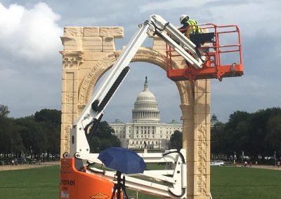 Final assembly of marble arch at the National Mall for Foreign Relations Conference